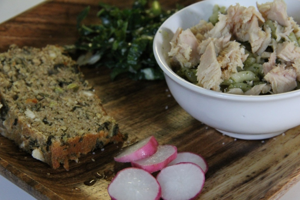 Cashew pesto pasta, kale bread, radishes and the imfamous garlic kale salad