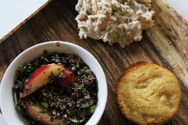 Fruit and Nut Quinoa, Tuna Salad, and a Butternut Squash Cornbread Muffin