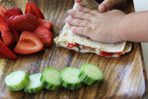 Loaded Vegetable Quesadilla with Cucumbers and Strawberries