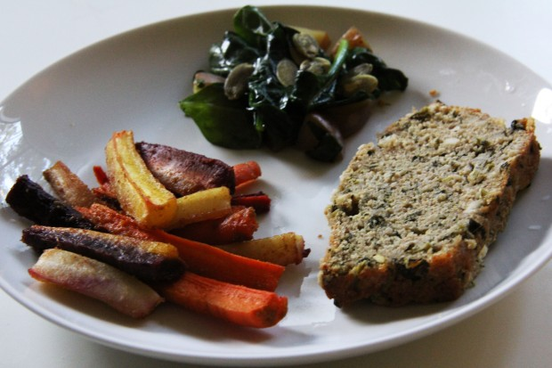Potatoes and Spinach with Cumin Roasted Rainbow Carrots and Kale Bread