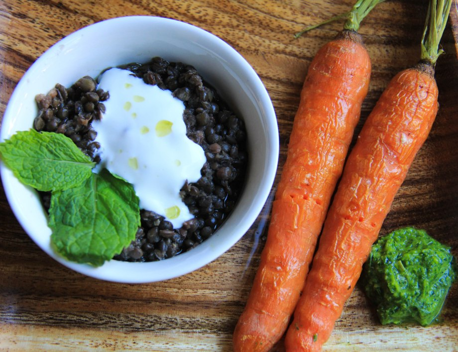 Sumac Spiced Black Lentils with Mint. Roasted Carrots.