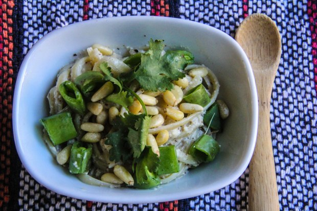 Hazelnut and Tahini Pasta with Pine  Nuts and Greens
