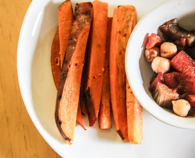 Sweet Potato Wedges and Eggplant, Chickpea, and Tomato Mix