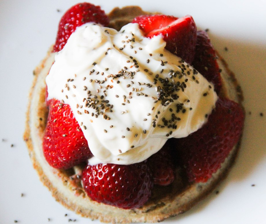 One of the few non-oatmeal breakfasts we have. Buckwheat Waffles with Strawberries, Greek Yogurt and Chia Seeds