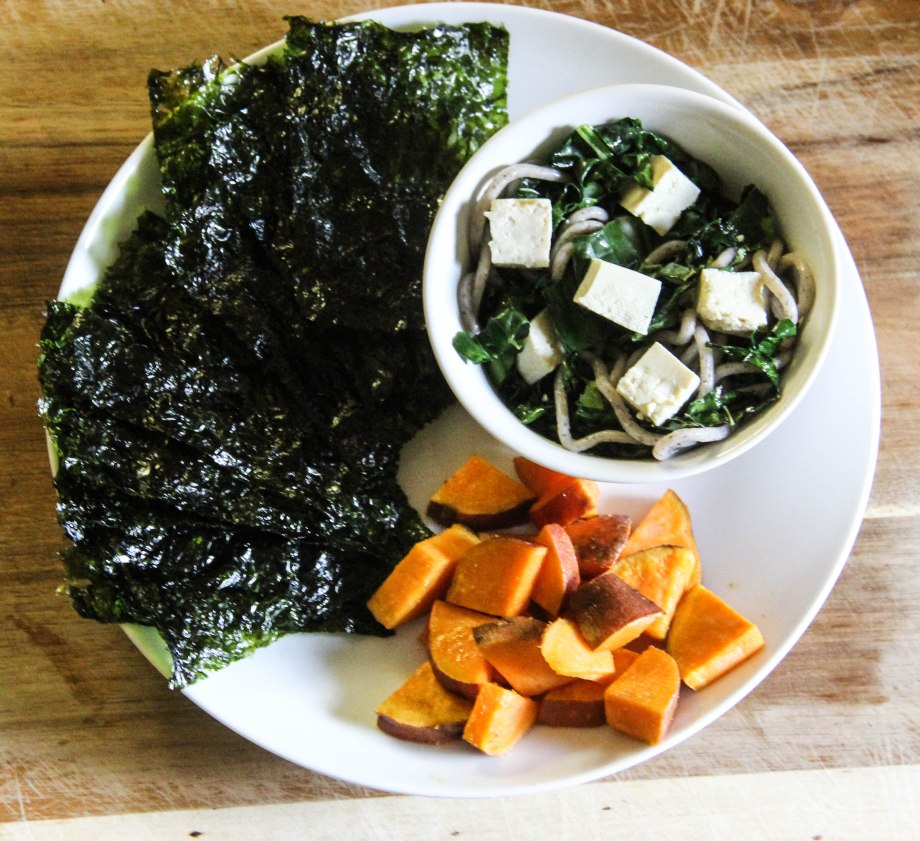 Buckwheat Soba Noddles with Kale. Sweet Potatoes and Seaweed.